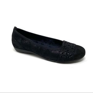 Gabor Black Bling Flats faux fur lined 74.160.80